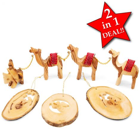 Christmas Camel Train with 3 Olive Wood Decorations from Israel