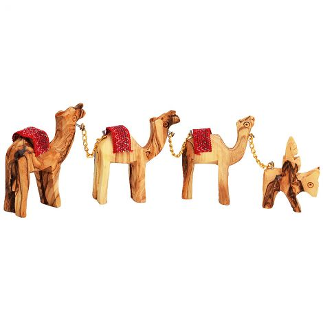 Olive Wood Camel Train - Made in the Holy Land