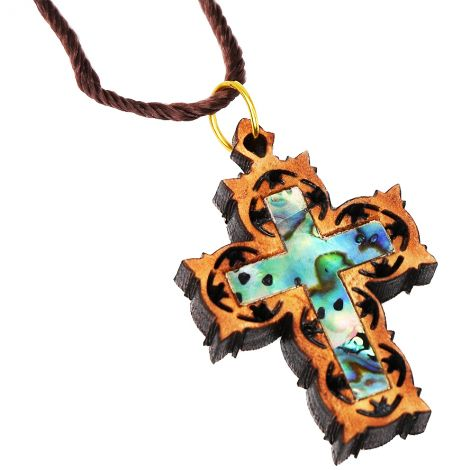 Carved Olive Wood Cross Necklace with Mother of Pearl
