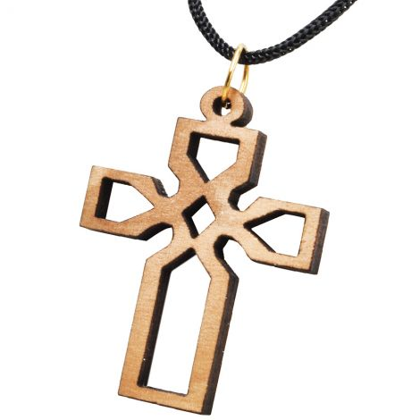 Olive Wood 'Celtic Cross' Necklace - Made in the Holy Land