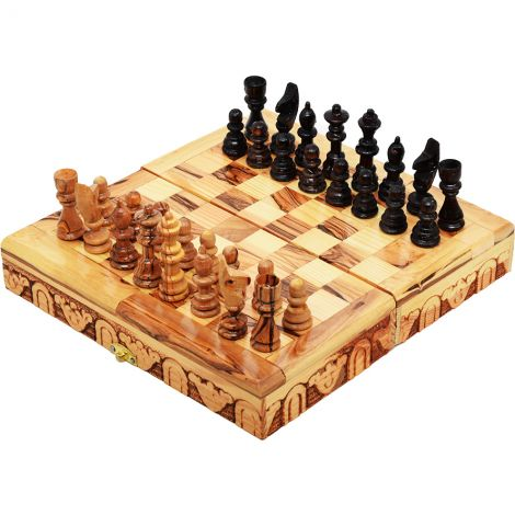 Wooden Chess Board Game - Made in Israel from Olive Wood