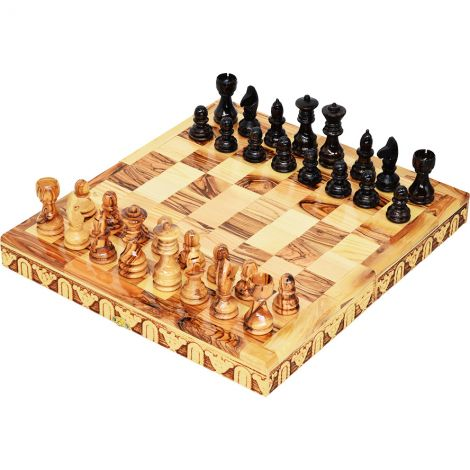 """Wooden Chess Set - Made in Israel from Olive Wood - 12"""""""