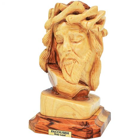 Jesus with Crown of Thorns' Olive Wood Bust - Catholic Art from Bethlehem