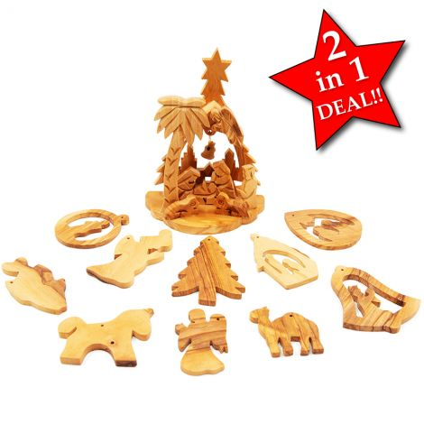 SPECIAL CHRISTMAS DEAL!!! Olive Wood Nativity with Tree Decorations
