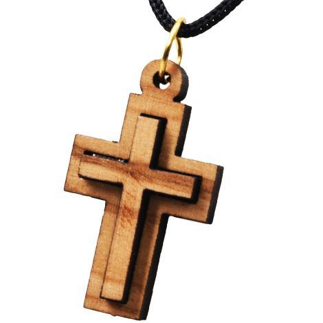 Olive Wood Cross 3D Pendant - Made in the Holy Land