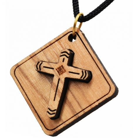 Olive Wood Cross - 3D Square Pendant - Made in Bethlehem