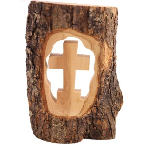 Hand Carved Olive Wood Cross in Log