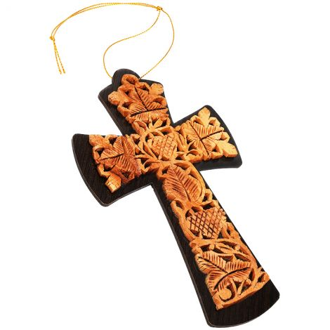 """Olive Wood Cross """"The True Vine"""" Wall Hanging - Made in Israel"""