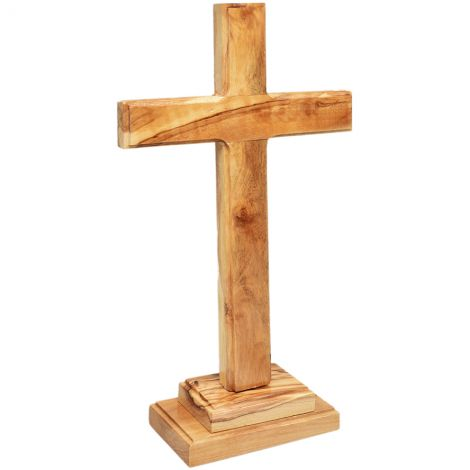 "Free Standing Olive Wood Cross from Jerusalem - 10"" inch"
