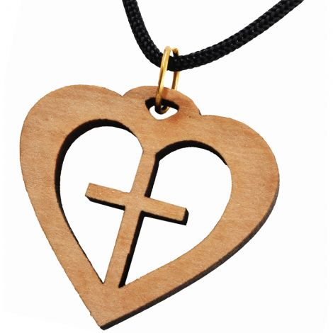 Olive Wood 'Cross inside a Heart' Necklace - Made in Bethlehem