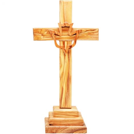 """Standing Olive Wood Cross With Holy Spirit Dove - 10"""""""