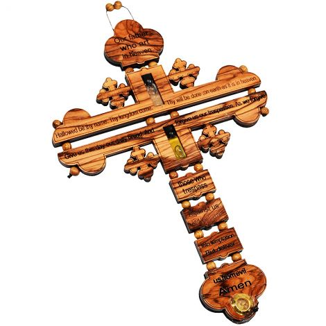 The Lord's Prayer' Olive Wood Coptic Cross with Oil