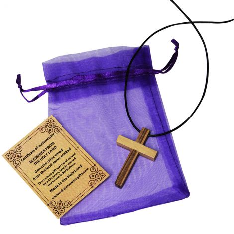Olive Wood Cross Necklace - Holy Land - Purple Gift Bag