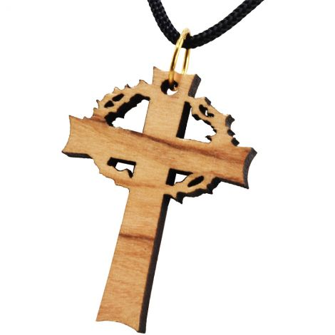 Olive Wood 'Crown of Thorns Cross' Necklace - Made in Bethlehem