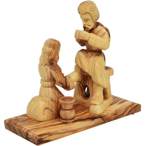 Jesus Washes the Feet of Peter' Olive Wood Ornament