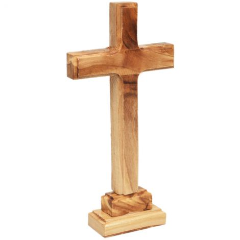 "Free Standing Olive Wood Cross from Bethlehem - 7"" (side view)"