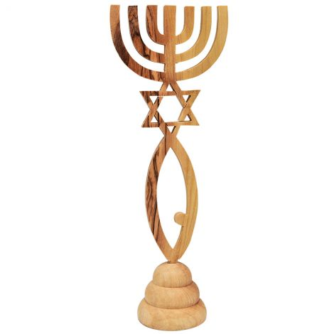 Grafted In' Messianic Symbol - Free Standing Olive Wood Ornament