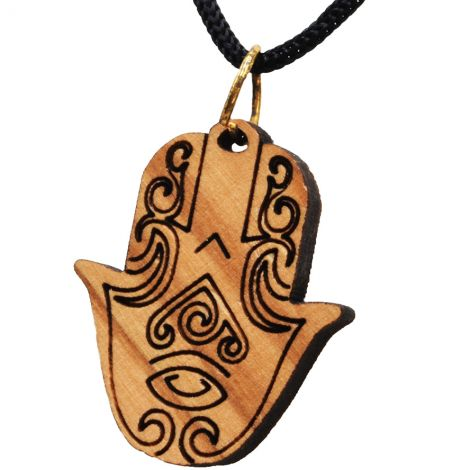 Olive Wood 'Hamsa' Necklace - Made in the Holy Land