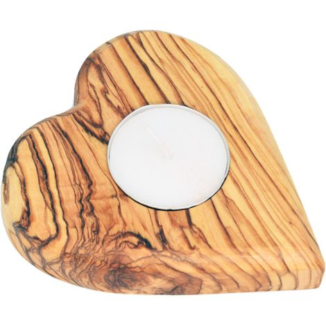Olive Wood Heart Tea-Light Candle Holder from Israel