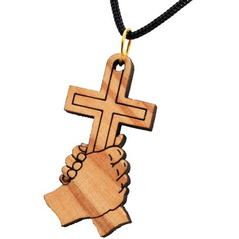 Olive Wood 'Hold onto The Cross' Pendant - Made in the Holy Land