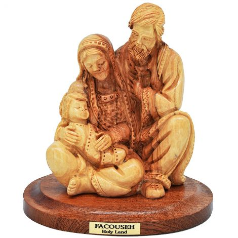 """Holy Family' Figurine Olive Wood Carving from Bethlehem - 4.5"""""""