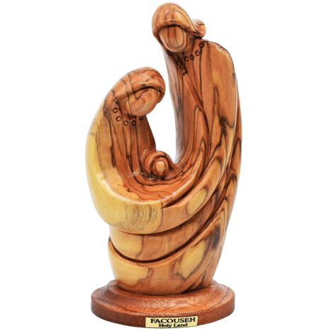 The Holy Family' Olive Wood Carving - Abstract Catholic Art