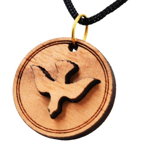 Olive Wood 'Holy Spirit Dove' Necklace - Made in the Holy Land