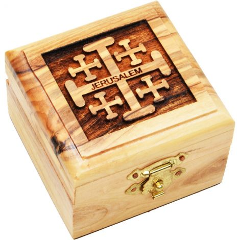 Engraved Olive Wood 'Jerusalem Cross' Box - Made in Bethlehem