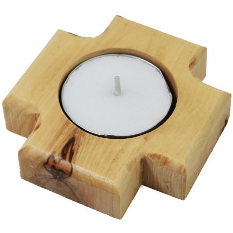 Olive Wood 'Jerusalem Cross' Candle Holder from the Holy Land