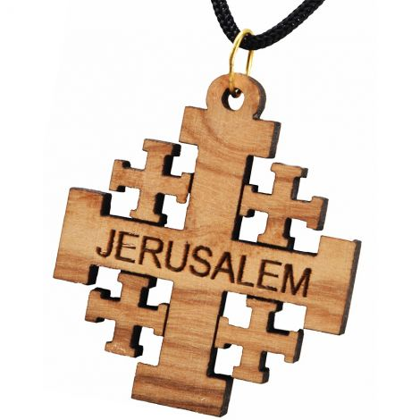 Large Olive Wood 'Jerusalem Cross' Pendant - Made in Bethlehem