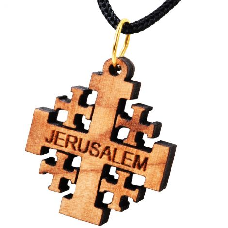 Olive Wood 'Jerusalem Cross' Necklace - Made in the Holy Land