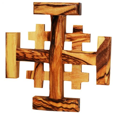 """Olive Wood 'Jerusalem Cross' Made in the Holy Land - 3"""""""