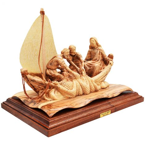 Jesus With Disciples In Boat Figure - Olive Wood - 10.5 inch