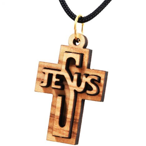 Olive Wood 'Jesus Cross' 3D Pendant - Made in the Holy Land