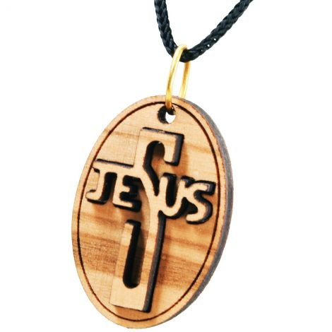 Olive Wood 'Jesus Cross' 3D Oval Necklace - Made in the Holy Land