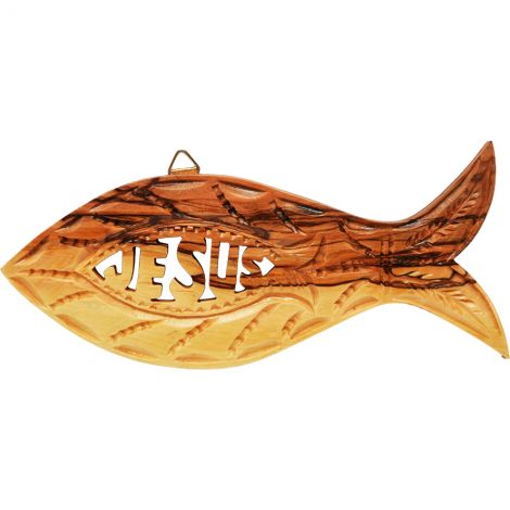 Olive Wood 'Jesus Fish' Wall Hanging - Made in Israel