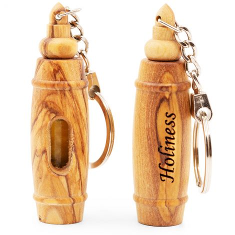 'Holiness' Olive Wood Key-Chain with Anointing Oil - Made in Jerusalem