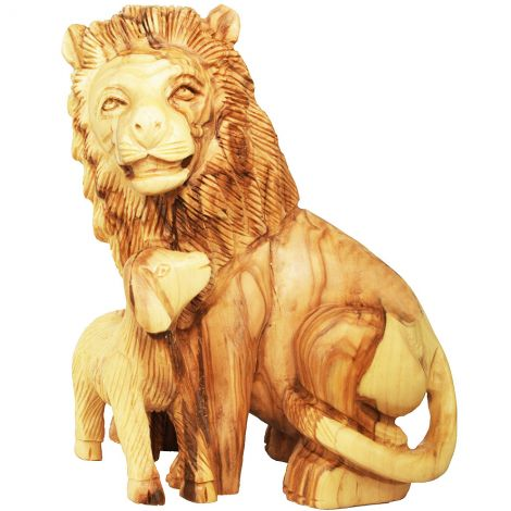 Olive Wood Lion and the Lamb - Biblical Ornament