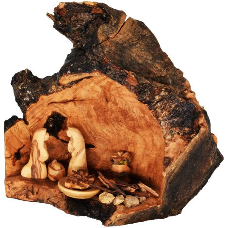 Olive Wood Nativity Cave Fixed Figurines - Bethlehem Branch - Med