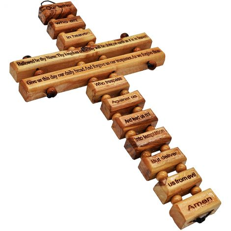 """The Lord's Prayer' Cross - Holy Land Cross made from Olive Wood - 9"""""""