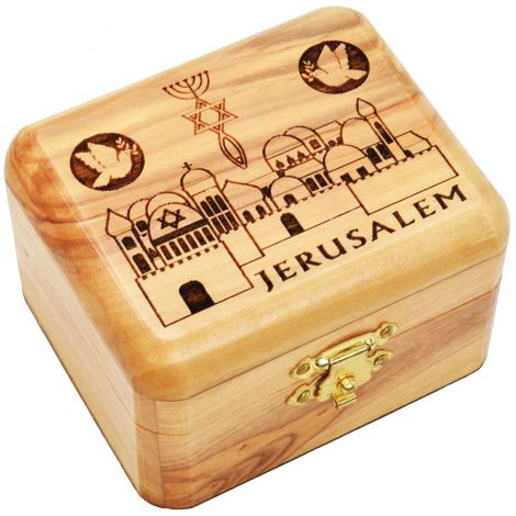 Olive Wood 'Messianic - Grafted In' Olive Wood Box - Made in Israel