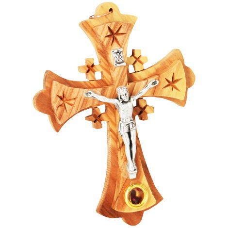 """Olive Wood Cross with Metal Crucifix and Incense Wall Hanging - 4"""" inch"""