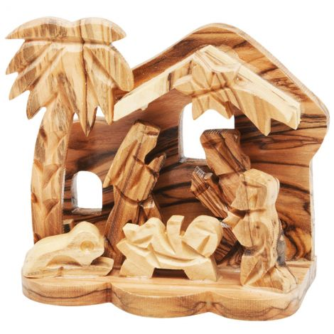 Olive Wood Nativity Creche Ornament from Bethlehem