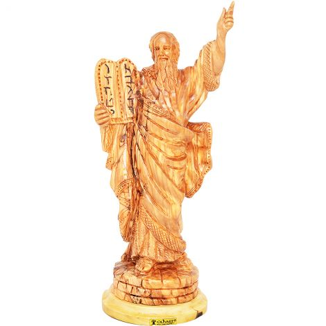 Moses and the Ten Commandments' Olive Wood Carving - Biblical Art - 11""