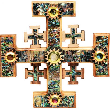"""Jerusalem Cross' Olive Wood and Mother of Pearl with Incense - 7"""""""