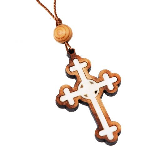 Orthodox Cross Olive Wood Necklace with Mother of Pearl