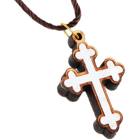 Olive Wood Cross Necklace with Mother of Pearl - Made in Bethlehem