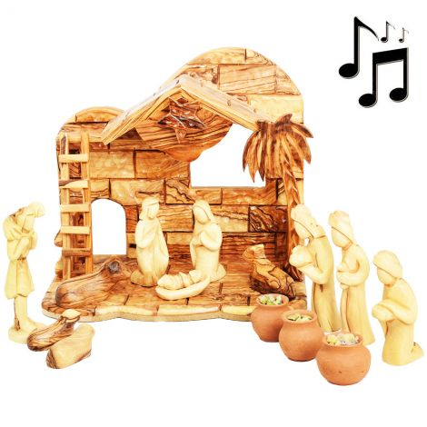 """Wooden Musical Nativity with Faceless Figurines + Wise Men Gifts - 11"""" - Made in Israel"""