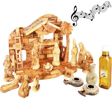 Olive Wood Musical Nativity with Jesus Period Clay Lamps and Oil Filler