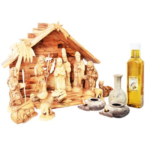 Olive Wood Nativity Set with Jesus Time Replica Clay Lamps and Oil Filler